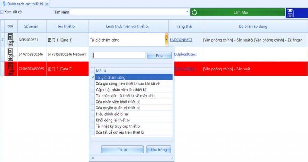 Quản lý các thiết bị chấm công trực tiếp trên phần mềm Paradise HR