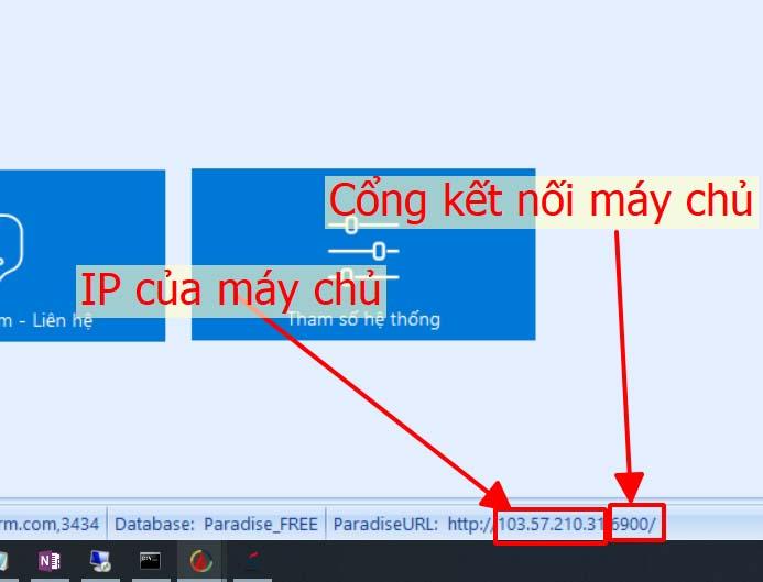 Xác định IP và port của máy chủ Paradise HR