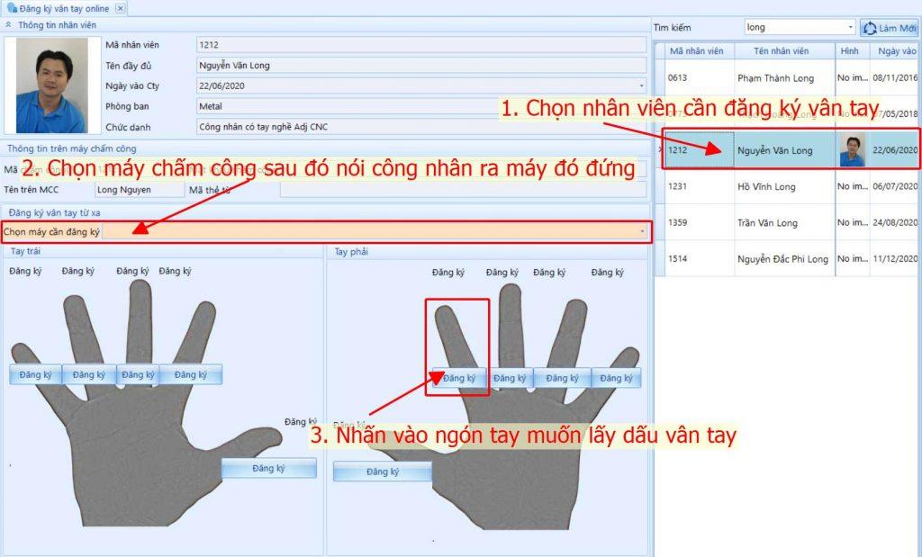 Giao diện phần mềm điều khiển máy chấm công từ xa để Lấy mẫu vân tay từ xa cho công nhân