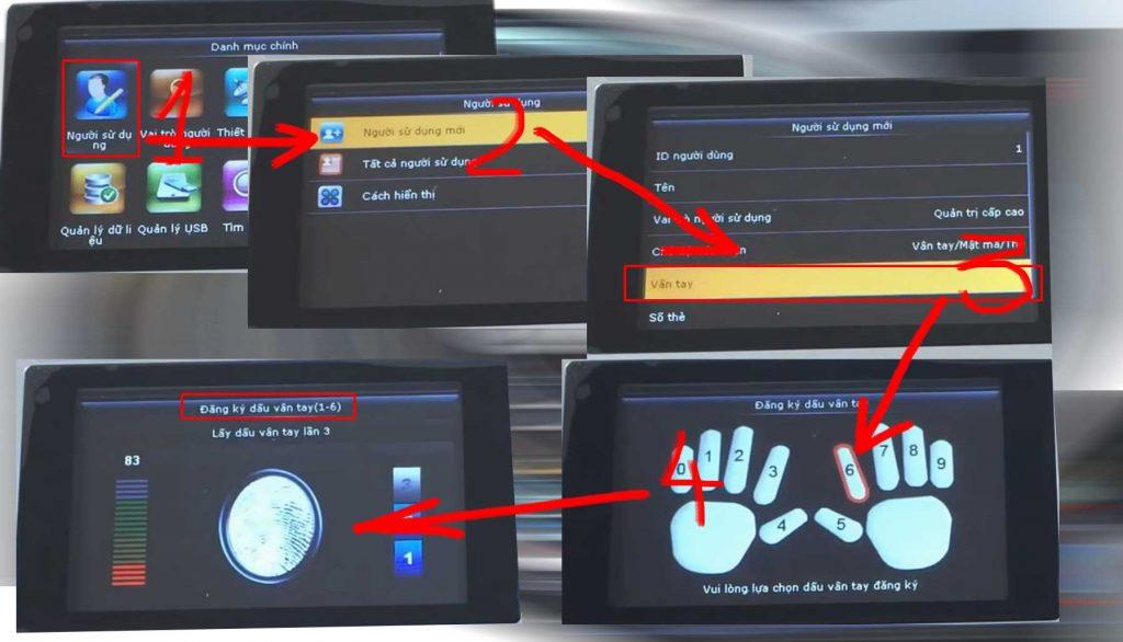 Đăng ký dấn vân tay trực tiếp tại máy chấm công. Phức tạp và dễ nhầm lẫn hơn việc đăng ký vân tay online
