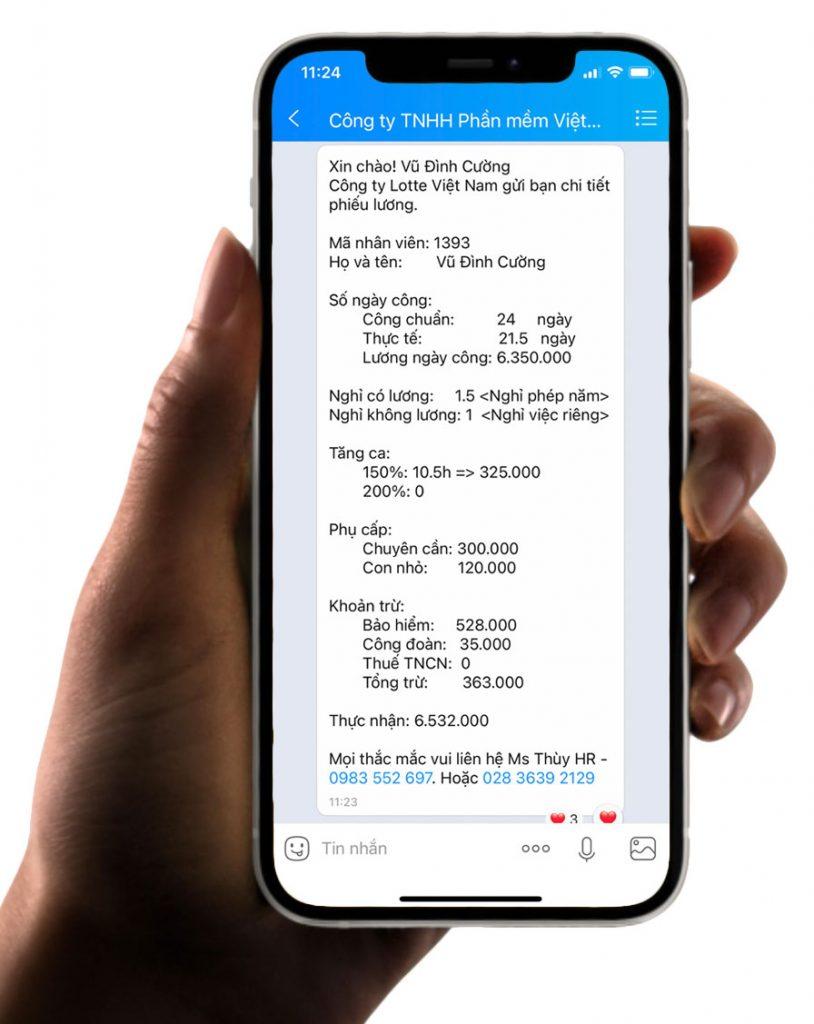 gửi phiếu lương qua tin nhắn zalo bằng phần mềm tính lương Paradise