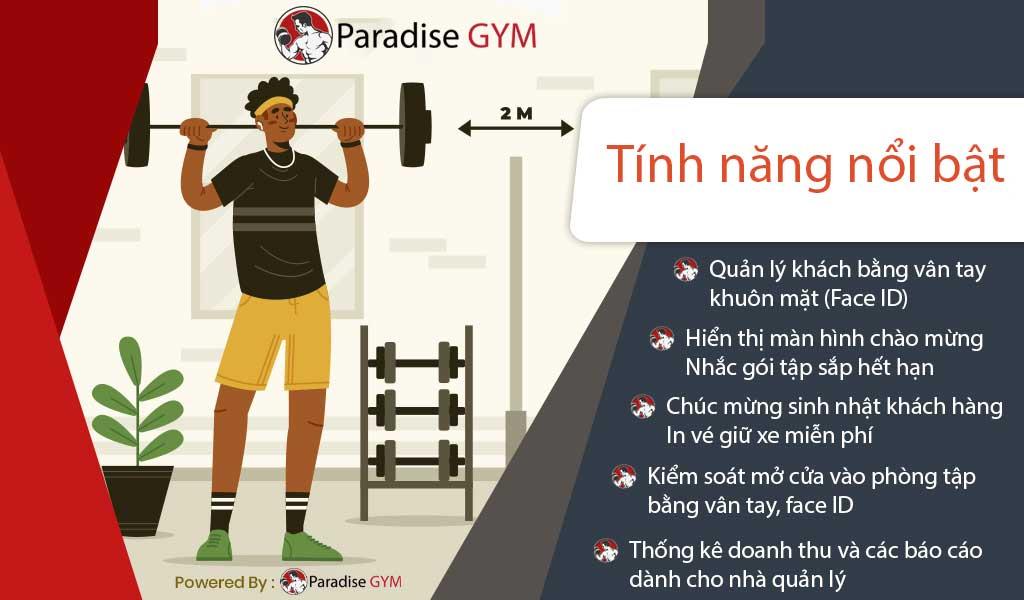 Các tính năng nổi bật của Phần mềm quản lý phòng gym Paradise