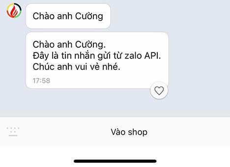 Người dùng nhận được tin nhắn gửi từ zalo oa