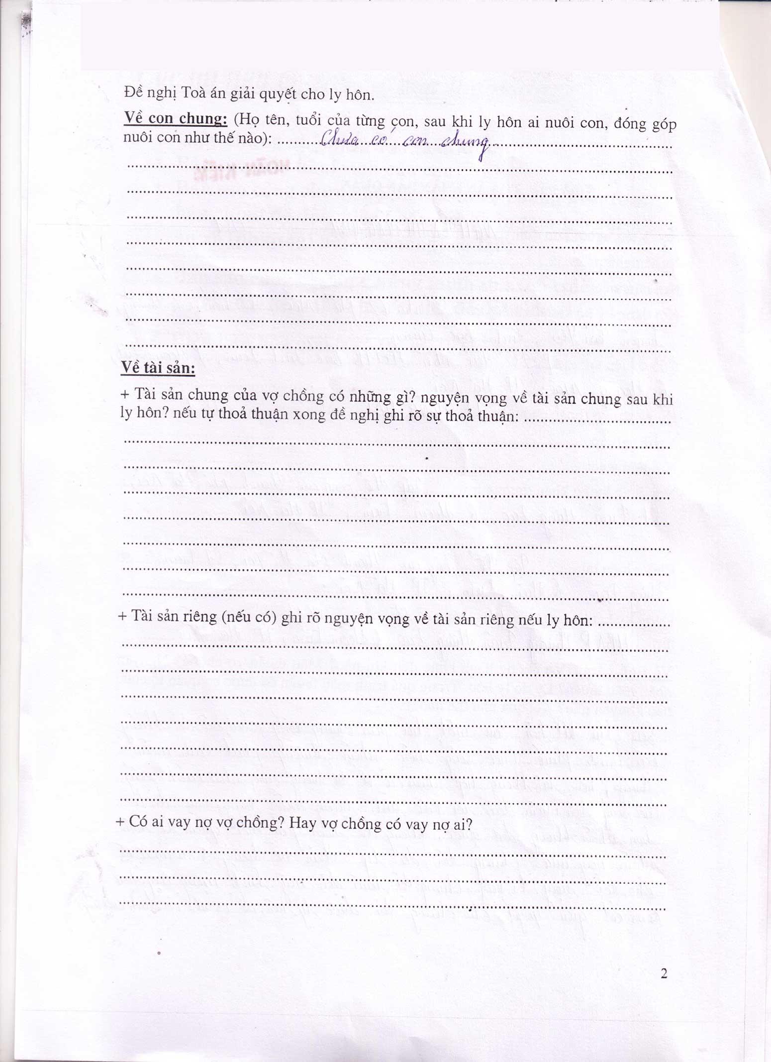 Đơn xin ly hôn viết tay trang 2
