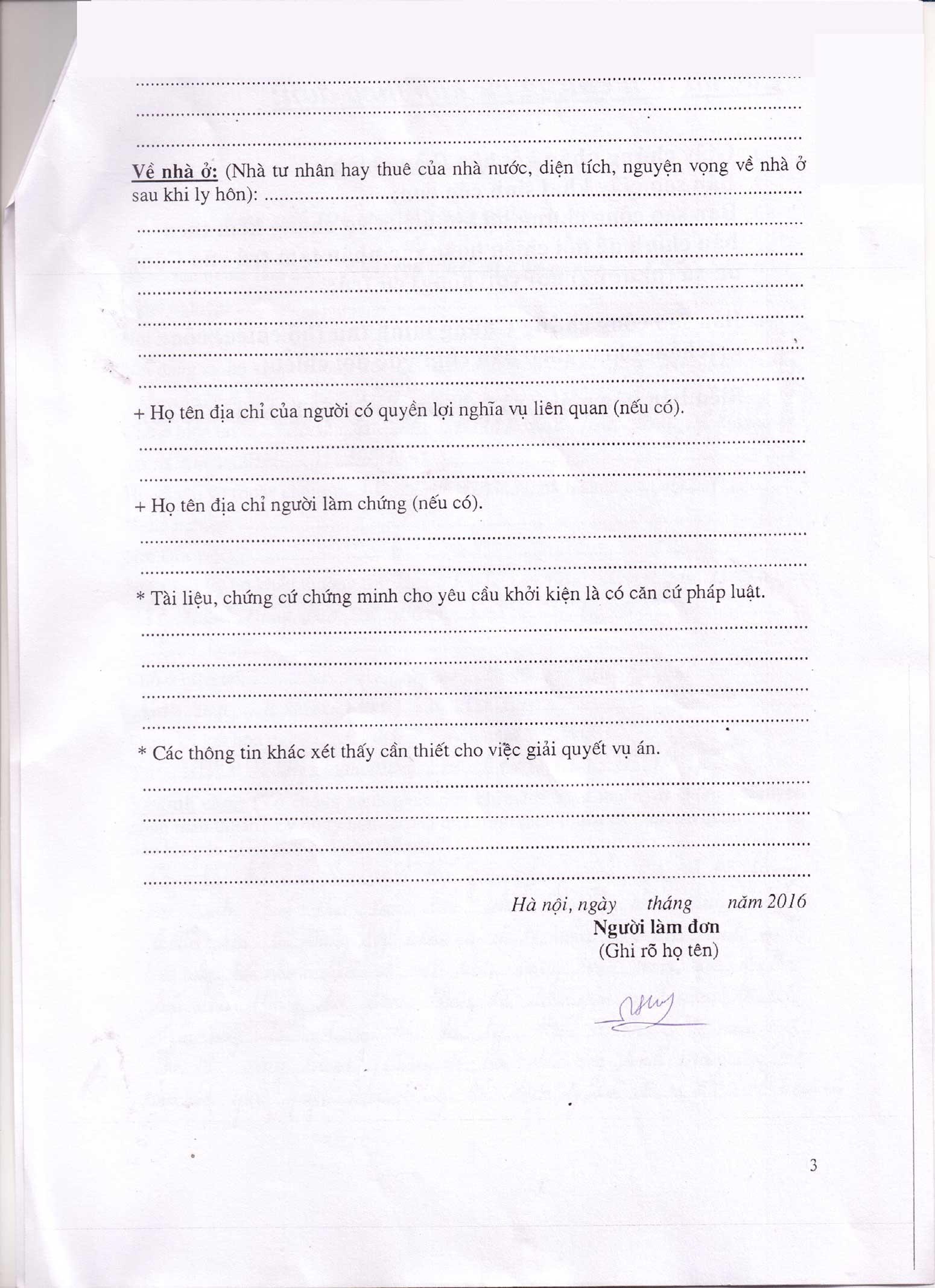 Đơn xin ly hôn viết tay trang 3