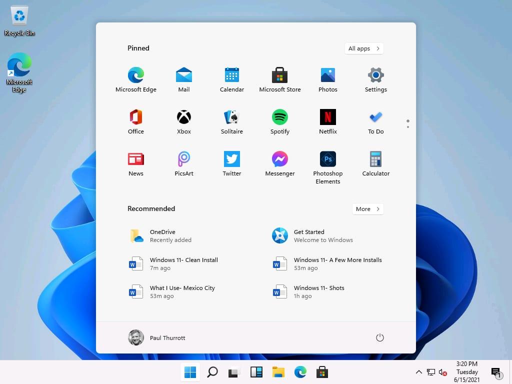Giao diện start menu của windows 11
