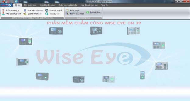 Giao diện phần mềm chấm công wise eye on 39