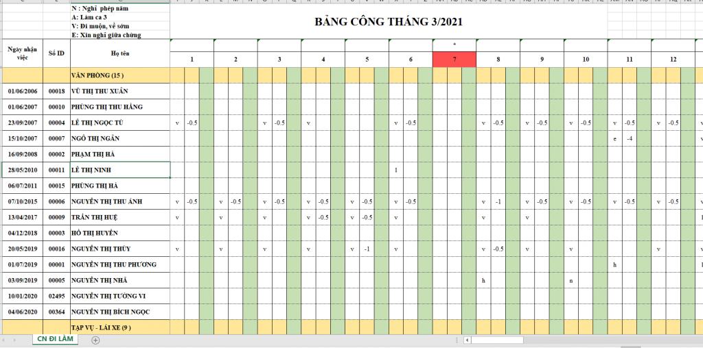 Tải về file excel mẫu bảng chấm công tổng hợp cả tháng