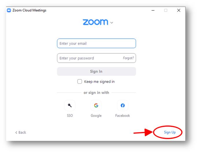 Tạo tài khoản zoom trên máy tính