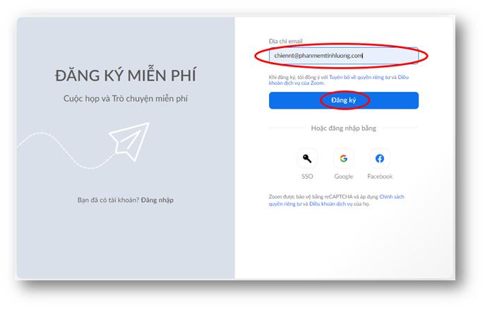 nhập thông tin email cá nhân để đăng ký tài khoản zoom