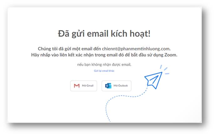 Email kích hoạt được zoom gửi cho bạn để kích hoạt tài khoản