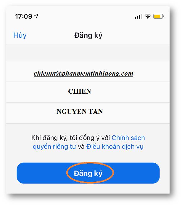 chọn ngày tháng năm sinh và click vào nút Xác Nhận khi đăng ký zoom trên điện thoại