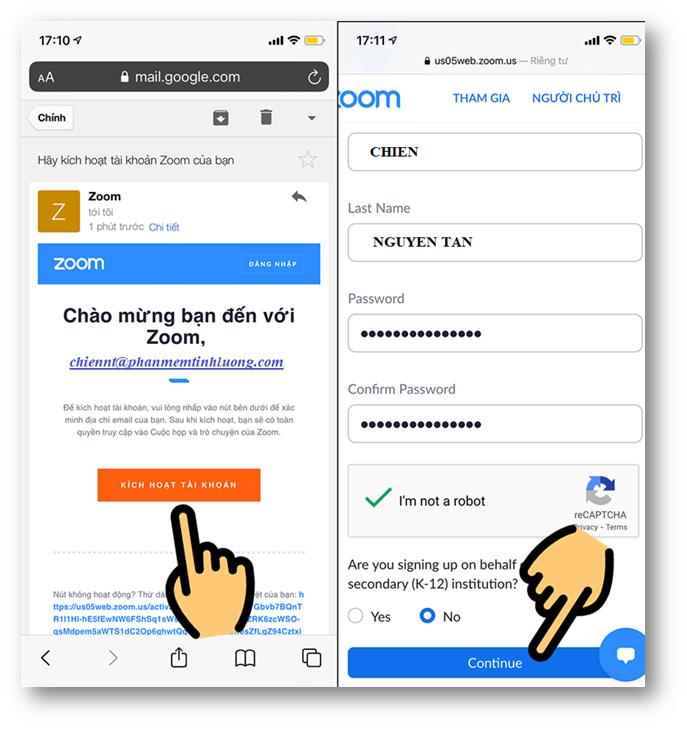 Kích hoạt theo đường link mà zoom gửi cho bạn qua email