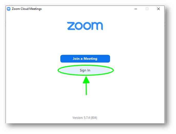 đăng nhập vào zoom để bắt đàu sử dụng