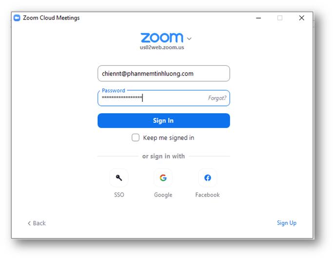 Sử dụng email đã đăng ký để đăng nhập vào zoom