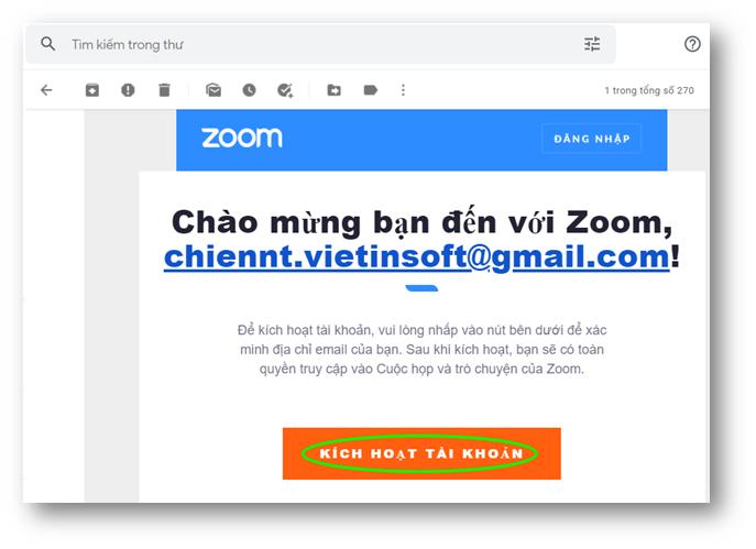 Nhấn vào đường link để kích hoạt tài khoản zoom đã đăng ký