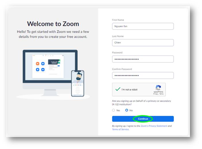 Đặt mật khẩu cho tài khoản zoom của bạn