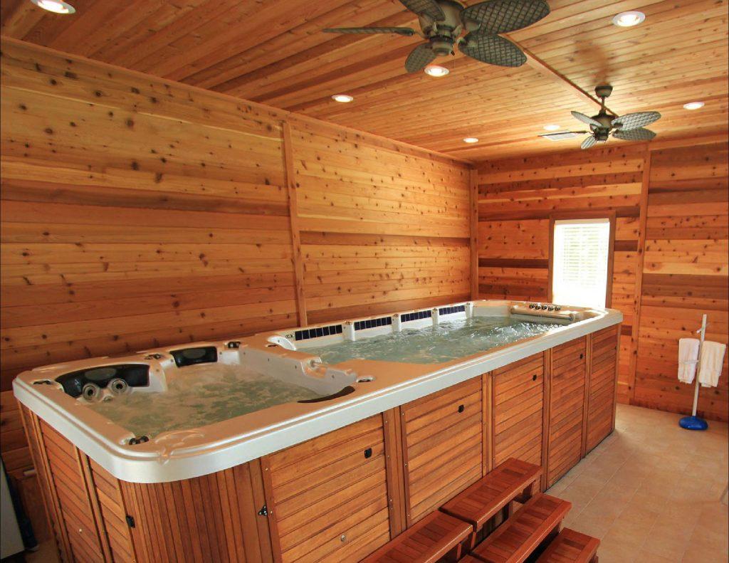 Bể sục jacuzzis xông hơi ốp gỗ